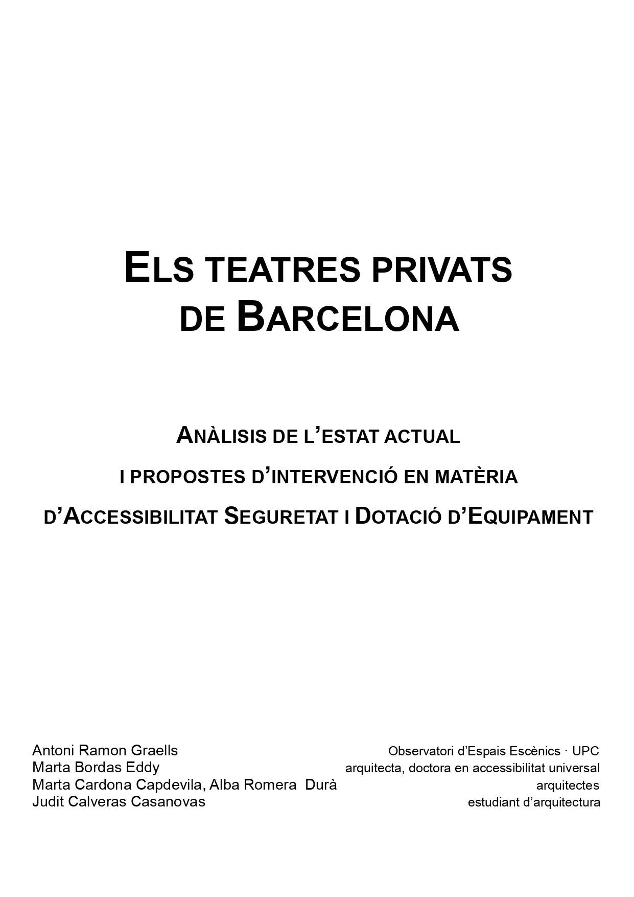 Los teatros privados de Barcelona